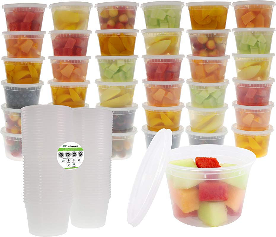 Freshware Food Storage Containers With Lids 36 Pack 16oz Plastic Containers Deli Slime Soup Meal Prep Containers BPA Free Stackable Leakproof Microwave Dishwasher Freezer Safe