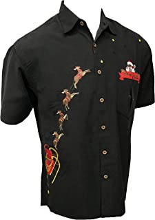 Bamboo Cay Men's Christmas Peekaboo Santa Embroidered Button Down Shirt