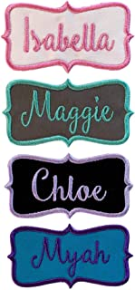 Name Patch Embroidered Tag Iron On Or Sew On - Script Font -Personalized With Your Name, Choice Of Fabric And Thread Color (1Patch)