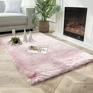Ashler Soft Fox Faux Fur Chair Couch Cover Area Rug for Bedroom Floor Sofa Living Room Pink White...