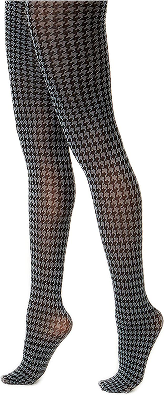 Hue Women's Houndstooth Tights with Control Top, Thunder, Small/Medium