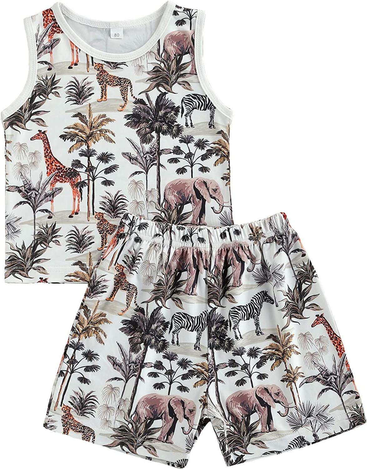 Toddler Baby Boys Summer Outfits Forest Animal Print Sleeveless Tank Tops + Casual Shorts 2Pcs Clothing Set