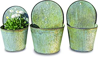 WHW Whole House Worlds Farmers Market Feed Bin Wall Planters, Set of 3, Galvanized Metal, Corrugated, Rolled Edges, Distressed Vintage Finish, 13 1/2, 12 1/4 and 11 Inches High