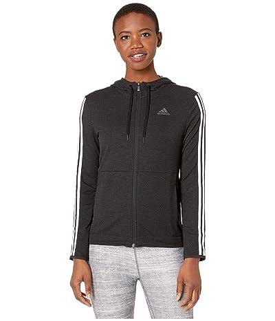 adidas 3 Stripe Training Full Zip Hoodie Sweatshirt (Black/White) Women