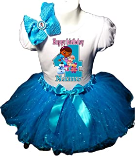 Doc McStuffins Birthday Party Dress 4th Birthday Turquoise Tutu Outfit Shirt