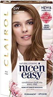 Clairol Nice'n Easy Permanent Hair Color, 6W Light Mocha Brown, 1 Count