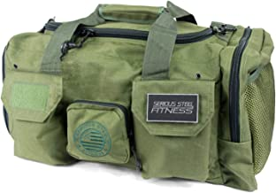 Serious Steel Fitness Gym Bag | 1000D Nylon Duffel Bag | Heavy Duty (Green)
