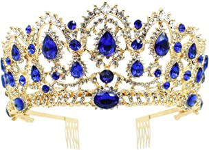 Vinsco Baroque Crown Vintage Tiara Luxury Retro Headband Crystal Rhinestone Hair Jewelry Decor for Queen Women Ladies Girls Bridal Bride Princess Birthday Wedding Pageant Party with Combs (Gold-Blue)