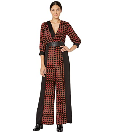BCBGMAXAZRIA Printed Long Sleeve Jumpsuit (Black/Geometric Grid) Women