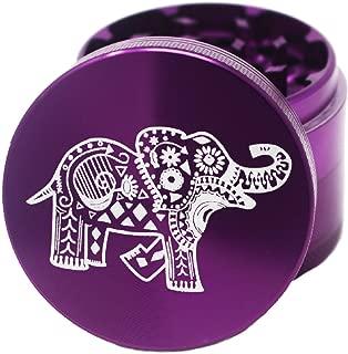 """Laser Engraved Spice & Herb Grinder – 2.2"""" Inch 4 Piece Premium Aluminum Crusher – Lionhead (Purple)"""