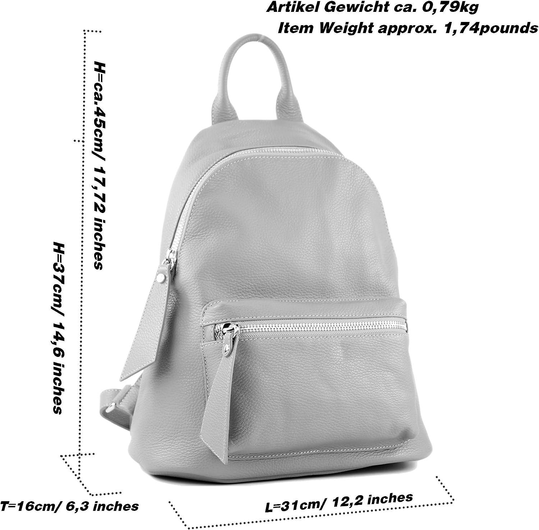 modamoda de - Ital Damenrucksack sac en cuir T171A Jaune Moutarde