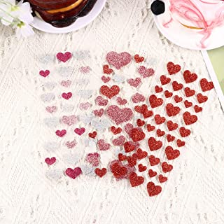 Tomaibaby 3 Sheets Hearts Metallic Stickers Diary Sticker Love Heart Decorative Sticker Valentines Heart Stickers Glitter ...