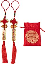 Chinese Feng Shui Coin - 2-Pack Chinese Knot, Feng Shui Lucky Coin with Red Ribbon and Bag, Fortune Coin, for Wealth and Success, Chinese New Year Decoration, 10 Coins, Gourd Design, 14.5 x 2 Inches