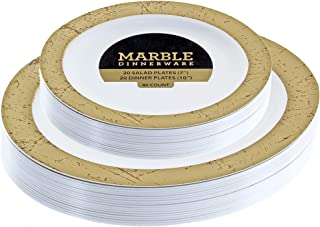 Disposable Plastic Plates Combo | Premium Quality White Dinnerware Set With Marble Gold Border | Excellent for Weddings, Birthdays Parties & More | 7 Inch & 10 Inch 20 Pieces Each | 40 Count