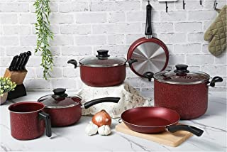 Tramontina Paris Line Red 9 Piece Cookware Set | Large Non-stick Stock Pot, Casserole Pot, Sauce Pan, Frying Pan, Milk Boi...