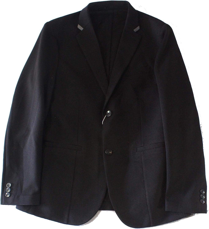 Ryan Seacrest Mens Knit Two Button Blazer Jacket, Black, X-Large