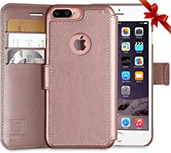 LUPA Wallet case for iPhone 8 Plus, Durable and Slim, Lightweight with Classic Design & Ultra-Strong Magnetic Closure, Faux Leather, Rose Gold, Apple 8 Plus