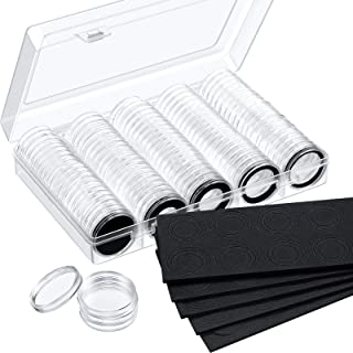 100 Pieces 30 mm Coin Capsules and 5 Sizes (17/20/ 25/27/ 30 mm) Protect Gasket Coin Holder Case with Storage Organizer Bo...