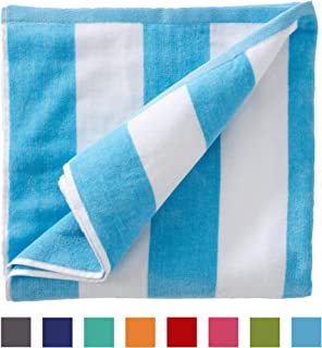 Great Bay Home Oversized Plush Velour 100% Cotton Beach Towel. Cabana Stripe Pool Towel for Adults. (Air Blue, 40