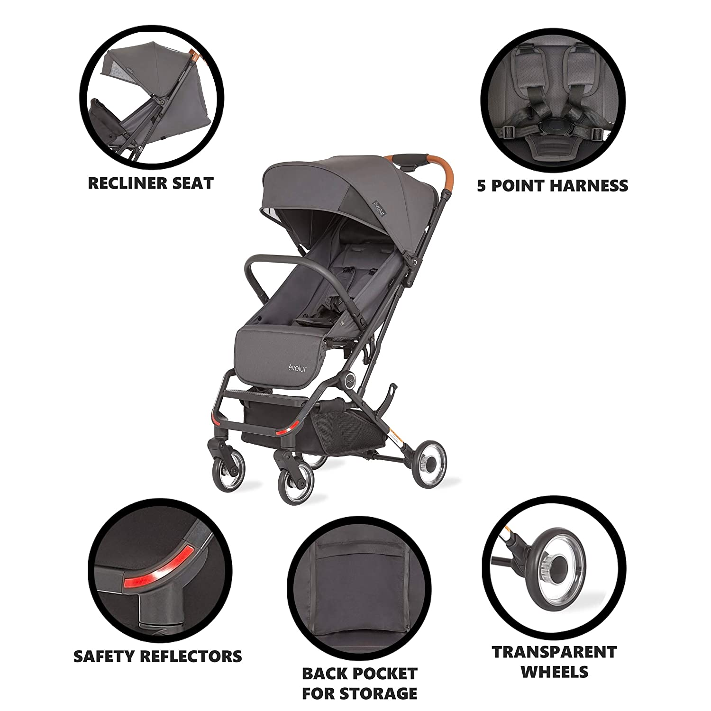 Evolur Urban Nimble Stroller in Gray (465-GRY)