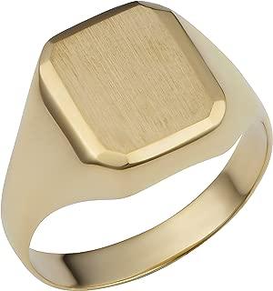 14k Yellow Gold Rectangular Signet Ring (mens or womens, 12.7 mm)