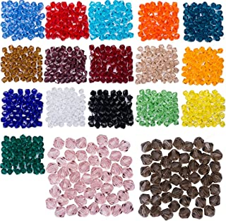 Lot 900pcs Glass Bicone Beads - LONGWIN Wholesale 6mm Bicone Shaped Crystal Faceted Beads Jewelry Making Supply for DIY Beading Projects, Bracelets, Necklaces, Earrings & Other Jewelries