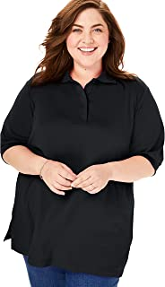 Woman Within Women's Plus Size Short-Sleeve Tunic Polo Shirt
