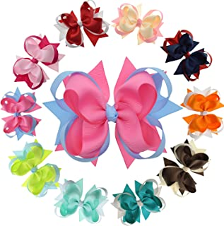 Girls Boutique Hair Bows with Ribbon Mixes and Stacks -10Pcs Pack & 4.5 Inch