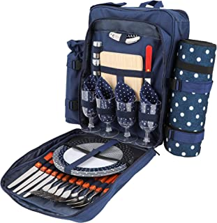 HËRDESMÄN Picnic Backpack for 4 | Deluxe Family Picnic Bag with Insulated Cooler | Quality Picnic Basket Set