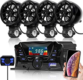 GoHawk TS3-Q Gen.2 Motorcycle Weatherproof Bluetooth Speakers 7/8-1 in. Handlebar Mount MP3 Music Player Sound Audio Stereo Amplifier System ATV UTV w/AUX in, USB, Micro SD, FM Radio, 4-Speaker
