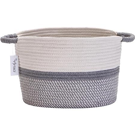 Hinwo Panier de Rangement en Corde de Coton Panier à Linge Pliable Organisateur de conteneur de Rangement pour Maternelle avec poignées, 15,7 x 12,6 Pouces