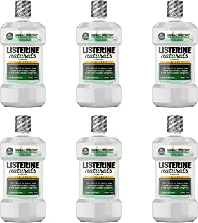Listerine Naturals Antiseptic Mouthwash, Fluoride-Free Oral Care To Prevent Bad Breath, Plaque Build-Up and Gingivitis Gum Disease, Herbal Mint, 1 L (Pack of 6)