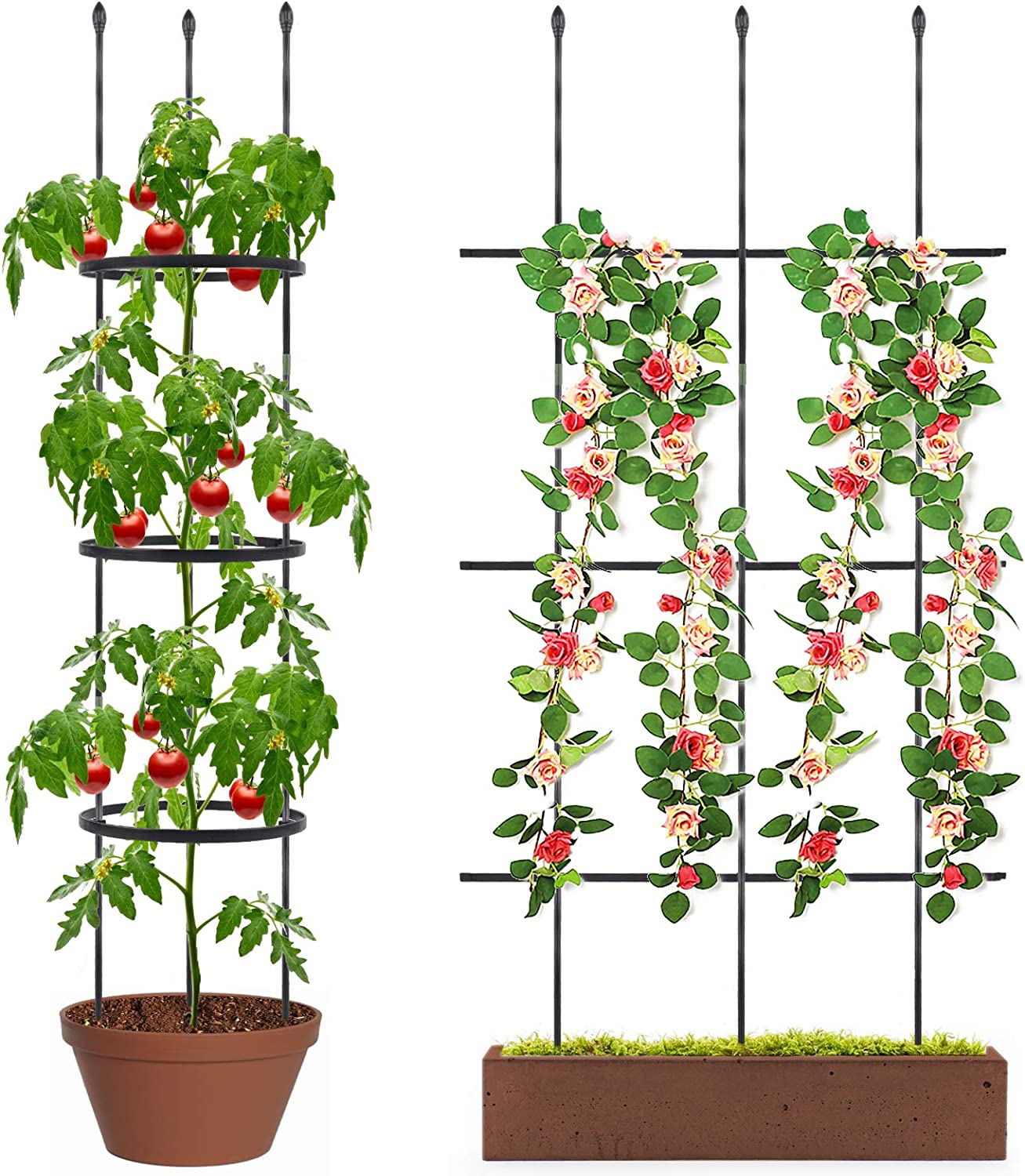 deaunbr Tomato Cages and Supports, 2Pcs Plant Cage Two Usages Tomatos Stake Garden Trellis for Plants Indoor & Outdoor Plants, Climbing Plant, Vegetables, Fruits & Flowers, Pots