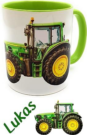 Preisvergleich für Kinderlampenland Traktortasse mit Wunschname, Namenstasse Trecker Henkelbecher für kleine & große Landwirte (grün)