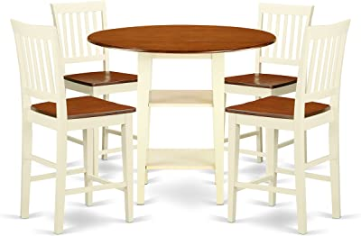 5 Piece Sudbury Set With One Round Counter Height Dinette Table And four Slat Dinette Stools With Wood Seat In A Rich Buttermilk and Cherry Finish.