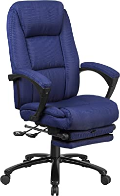 A Line Furniture Multifunction Reclining Navy Fabric High Back Executive Swivel Office Chair