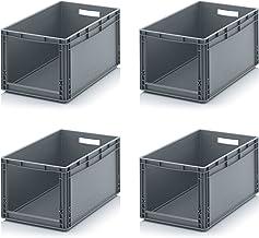 4x Euro Sichtlagerkasten 60 x 40 x 32 cm inkl. gratis Zollstock * Eurobehälter mit Fenster