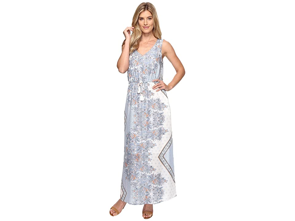 Dylan by True Grit Vintage Boho Bandana Maxi Tie Dress w/ Pockets and Lining (Vintage Chambray) Women