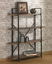 O&K FURNITURE 4 Tier Bookcases and Book Shelves, Industrial Vintage Metal and Wood Bookcases Furniture,Vintage Brown