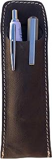 Astuccio portapenne portamatite in vera pelle stropicciata effetto vintage fatto a mano in Italia Made in Italy