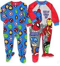 Marvel Super Hero Adventures Avengers Boys 2 Pack Fleece Footed Sleeper Pajamas