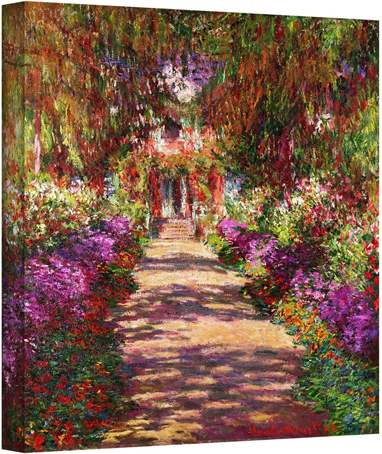 ArtWall  A Pathway in Monet's Garden Gallery Wrapped Canvas Art by Claude Monet, 24 by 24-Inch
