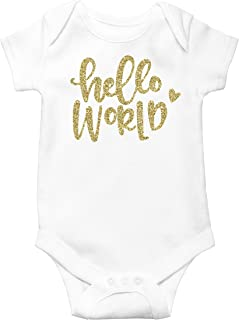 Newborn Take Home Bodysuit Hello World Girl Coming Home Outfit Gold