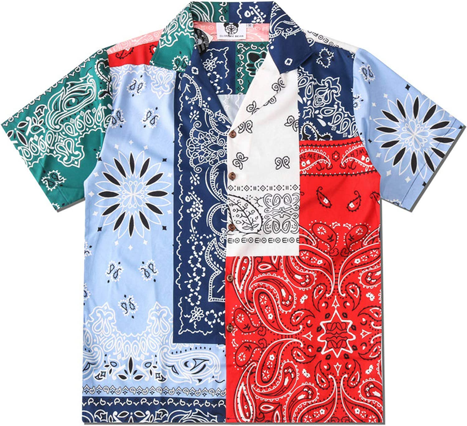 Quantity limited Corumly Men's Short-Sleeved Shirt Max 74% OFF Summer Loose Prin Style Ethnic