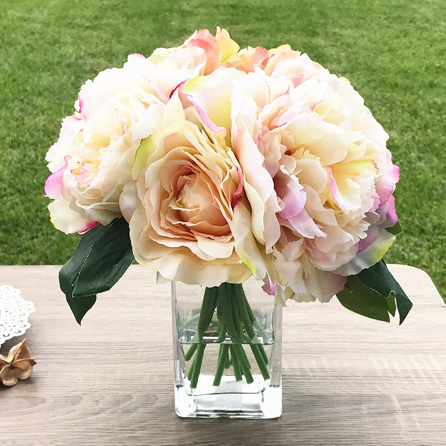 Enova Home Peony Rose and Hydrangea Mixed Artificial Indianapolis Mall Faux Flower Store