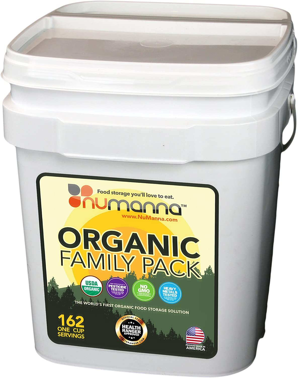 NuManna USDA ORGANIC Family Pack 162 Servings, Emergency Survival Food Storage Kit, Separate Rations, in a Bucket, Meals Included Have 25 Year Shelf Life , GMO-Free (Single) - -