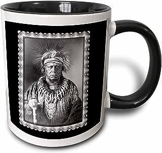 3dRose Keokuk, Ssauk Chief, 1847 by Thomas easterly Native American Indian Photo - Two Tone Black Mug, 11oz (mug_160745_4), 11 oz, Black/White