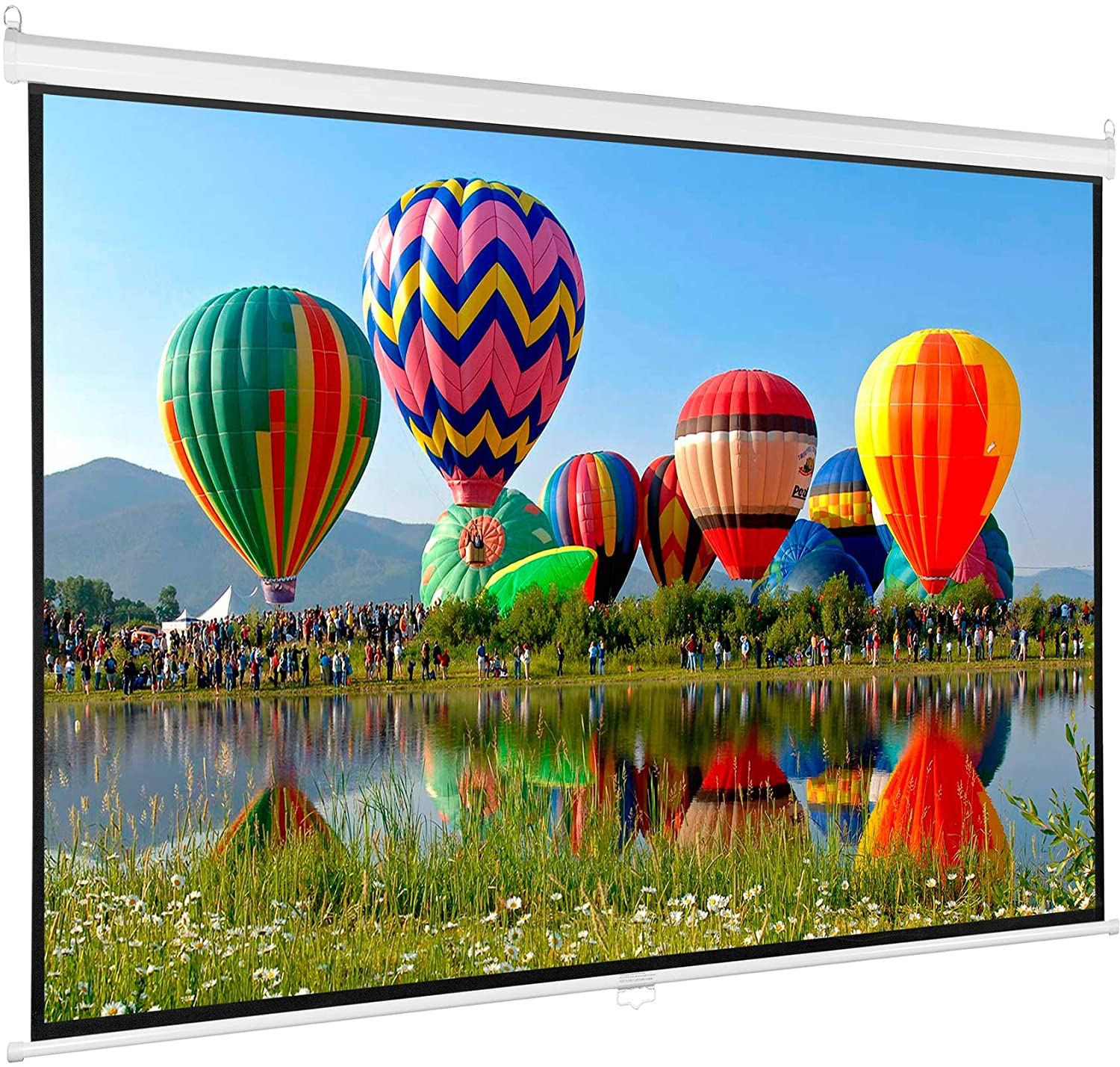 VIVO 100 inch Diagonal Projector Screen, 16:9 Projection HD Manual Pull Down, PS-M-100