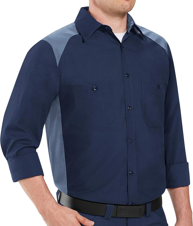Red Kap mens Stain Resistant Motorsports Shirt, Long Sleeve