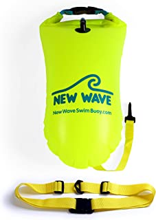 New Wave Swim Buoy for Open Water Swimmers and Triathletes - Light and Visible Float for Safe Training and Racing - Fluo Yellow-Green